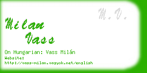 milan vass business card